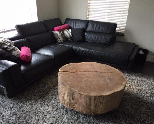 Unieke salon- en bijzet boomstammeubels